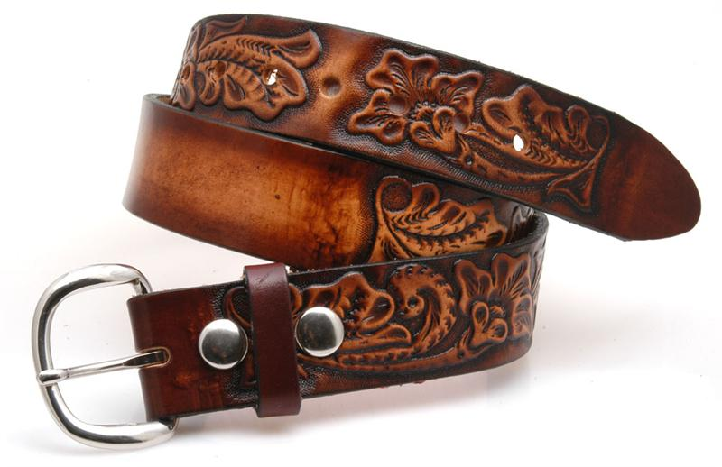 Carved leather belt name gavereleather
